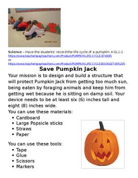 STEM lesson for a Pumpkin Unit