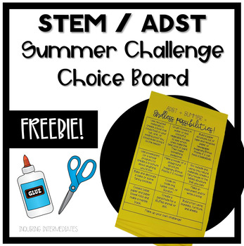 STEM or ADST Summer Challenge Choice Board FREEBIE