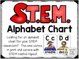 STEM or STEAM Alphabet Chart Cards - In Cursive and Print
