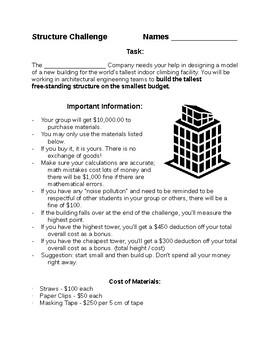 STEM or STEAM Structure Challenge