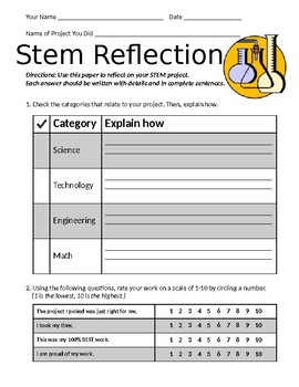 STEM project reflection - Editable Printable