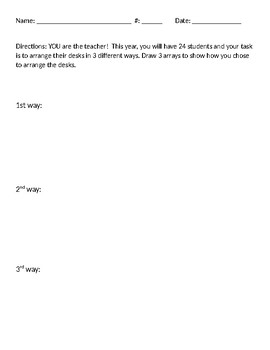 STEM short project math: arrays, factors, division problem solving worksheet