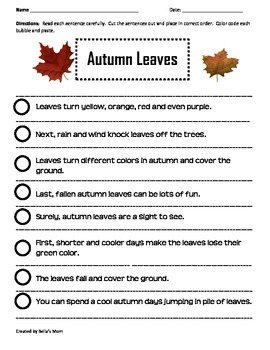 PARAGRAPH CUT & PASTE: AUTUMN LEAVES