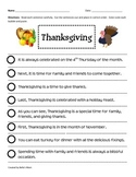 Paragraph Cut & Paste: Thanksgiving