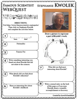 STEPHANIE KWOLEK Science WebQuest Scientist Research Project Biography Notes