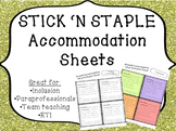 STICK 'N STAPLE Accommodation Sheets