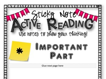 STICKY NOTE ACTIVE READING CHART