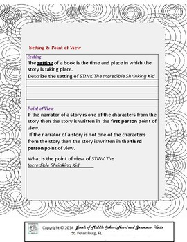 STINK the Incredible Shrinking Kid Unit with Literary and Grammar Activities