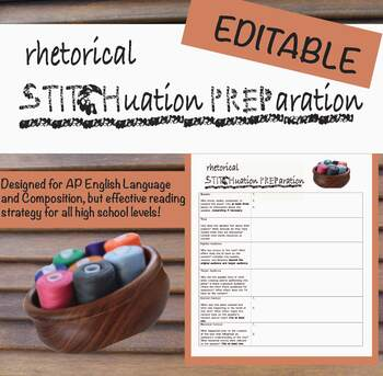 STITCHPREP: A Rhetorical Situation Close Reading Strategy (EDITABLE)