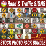 STOCK PHOTOS - Road & Traffic SIGNS - Photographs - BUNDLE