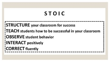 STOIC Behavior & Classroom Management Framework Presentation