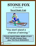 STONE FOX Novel and Reading Study Common Core Aligned