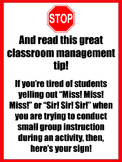 STOP! Ask 3 Before Me! - Classroom Management