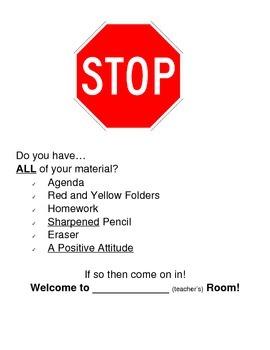 STOP - Classroom Door Sign