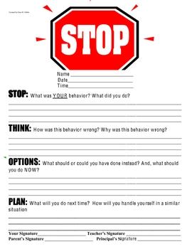 STOP Sheet