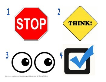 STOP, Think, Look, and Check Sign