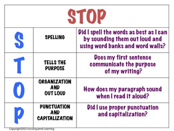STOP Writing Poster