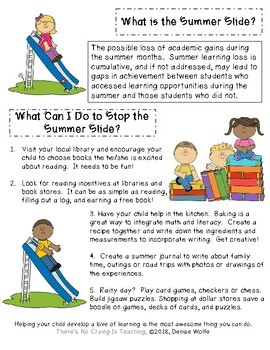 STOP the Summer Slide:  A Parent Handout