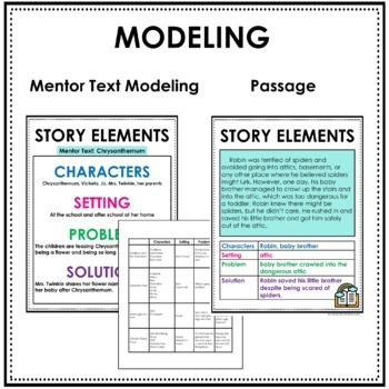 STORY ELEMENTS GRAPHIC ORGANIZER, STORY ELEMENTS POSTER, TASK CARDS, PASSAGES