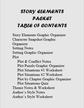 Story Elements Packet Gr. 9-12