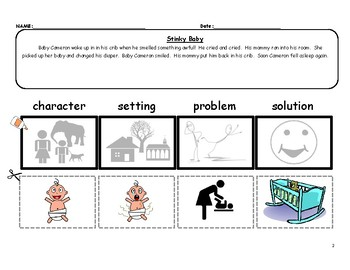 STORY ELEMENTS cut & paste - easy  FREE sample