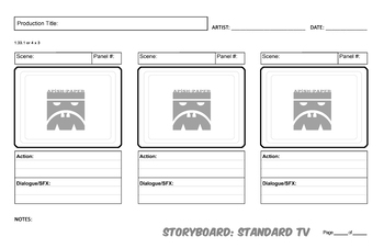 STORYBOARDING TEMPLATES for Film, Video, and Animation Projects