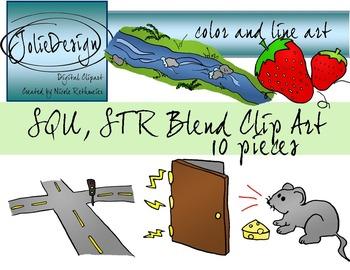 STR, SQU Blend Phonics Clip Art Set - Color and Line Art 10 pc set