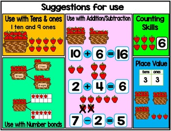 Place value clipart & ten frames-Strawberries