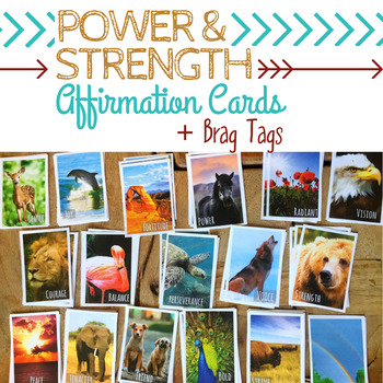 STRENGTH & POWER Positive Affirmation Cards & Brag Tags *Spirit Animal Inspired