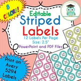 STRIPED Circle Labels Editable Folder (Avery 5294) PARTY COLORS