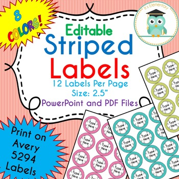 STRIPED Circle Labels Editable Classroom Notebook Folder (Avery 5294, PARTY)