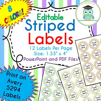 STRIPED Circle Labels Editable Classroom Notebook Folder (Avery 5294, PASTEL)