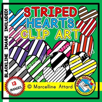VALENTINE'S DAY CLIPART HEARTS: STRIPED HEARTS CLIPART: VALENTINE HEARTS CLIPART