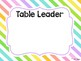 STRIPED Kagan Table Numbers & Leader