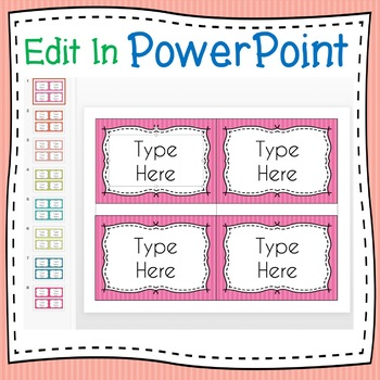 STRIPED Labels Editable Classroom Notebook Folder Name (PARTY, Avery 5168, 8168)