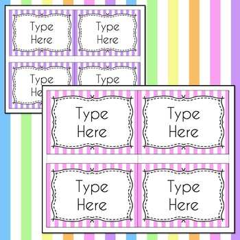 STRIPED Labels Editable Classroom Notebook Folder Name (PASTELS, Avery 5168)
