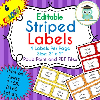 STRIPED Labels Editable Classroom Notebook Folder Name Tags RAINBOW, Avery 5168