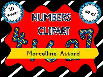 STRIPY NUMBERS CLIPART: NUMBERS 0 TO 9: BACK TO SCHOOL CLIPART