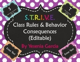 S.T.R.I.V.E. Class Rules & Behavior Consequences (Editable Templates)