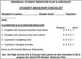 STUDENT BEHAVIOR PLAN & CHECKLIST