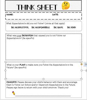 STUDENT BEHAVIOR THINK SHEET (editable)