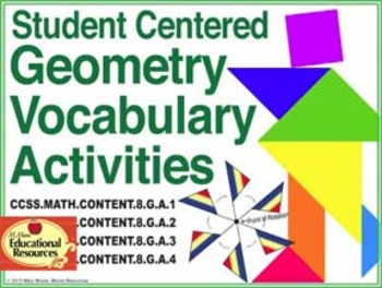 8th Grade Math - GEOMETRY - Vocabulary for Interactive Notebooks & Stations