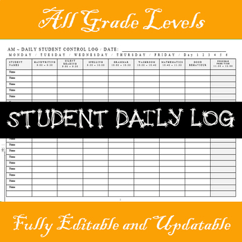 STUDENT DAILY WORK LOG -  EDITABLE IN .RTF FORMAT