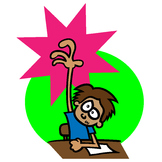 Clip art of Student Raising His Hand
