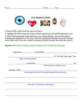 """STUDENT HANDOUTS: Symbolism, Irony & Theme in """"The Tell Tale Heart"""""""