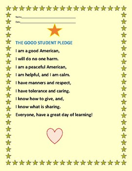STUDENT PLEDGE: Say this pledge every morning with your class! Make a poster!