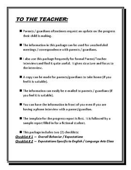 STUDENT PROGRESS REPORT /PERFORMANCE UPDATE /PREP FOR PARENT-TEACHER INTERVIEWS