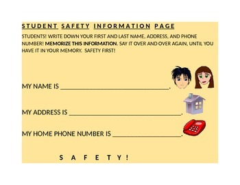 STUDENT SAFETY INFORMATION PAGE/NAME/ADDRESS/PHONE