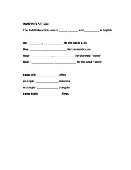 STUDY GUIDE- Plurals. Genders, Articles, etc.