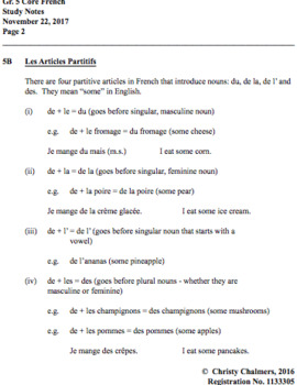 STUDY NOTES - PAGES - CORE FRENCH - Gr. 5 - Ont. Min. of Ed. - April 10, 2018